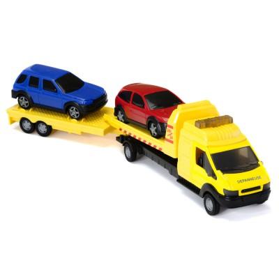 camion d panneuse double remorque jaune jeux et jouets john world avenue des jeux. Black Bedroom Furniture Sets. Home Design Ideas