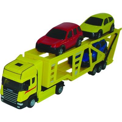 camion et voitures transporteur jaune 1 48 et ses 3 voitures john world magasin de jouets. Black Bedroom Furniture Sets. Home Design Ideas