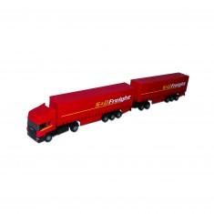Camion Semi-remorque avec remorque rouge