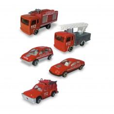 Véhicules de pompiers : Coffret de 5 véhicules de secours