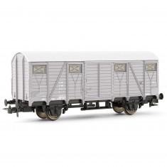 Véhicule pour circuit de train : Wagon couvert gris à deux essieux