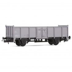 Véhicule pour circuit de train : Wagon tombereau gris à deux essieux