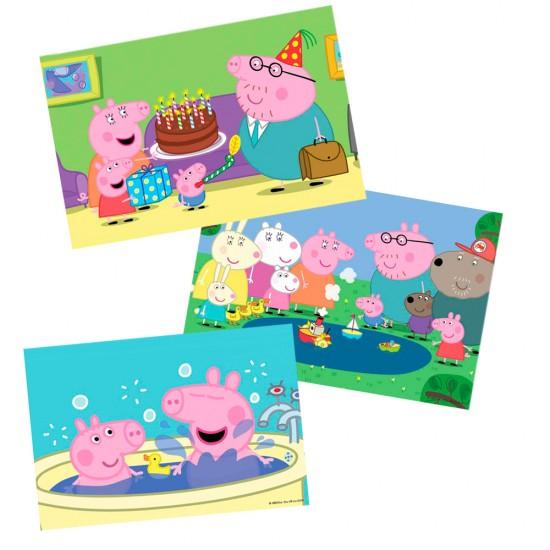 Puzzle 6, 9 et 12 pièces : 3 puzzles Peppa Pig - Diset-Jeux-17388