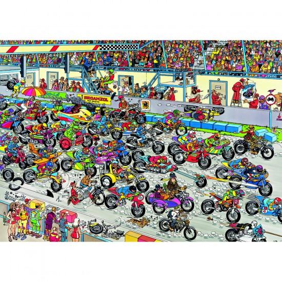 Puzzle 1000 pièces - Jan Van Haasteren : Course de motos - Jumbo-02046