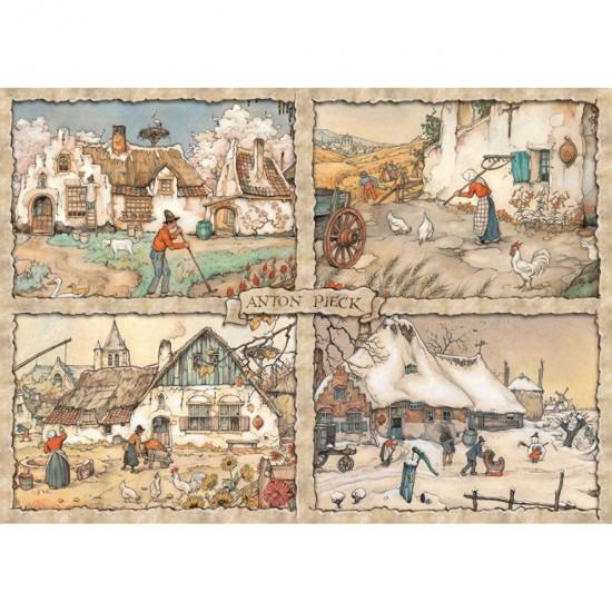 Puzzle 1000 pièces : 4 saisons, Anton Pieck - Jumbo-17093