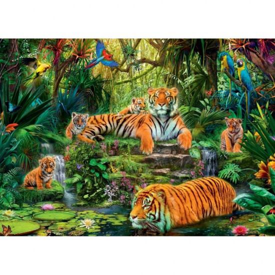 Puzzle 1000 pièces : Famille de tigres - Jumbo-17245
