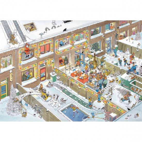 Puzzle 2000 pièces : Réveillon de Noël, Jan Van Haasteren - Jumbo-19032