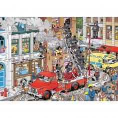 Puzzle 500 pièces : Jan Van Haasteren : Alerte incendie
