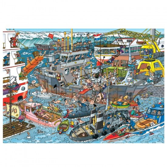 Puzzle 500 pièces : Jan Van Haasteren : Dans le port - Jumbo-19012
