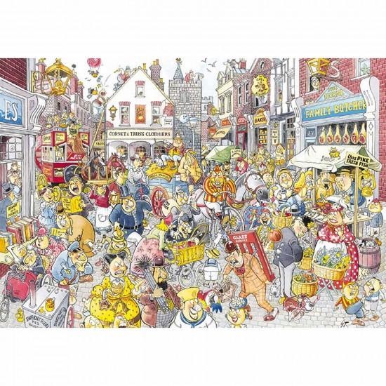 Puzzle 1000 pièces - Wasgij Destiny : Brouhaha dans la grand rue - Jumbo-13499