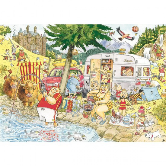 Puzzle 1000 pièces - Wasgij Mystery : Camping - Diset-Jumbo-13498