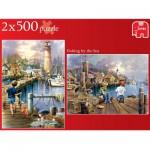 Puzzles 2x500 pièces : Pêcher à la mer