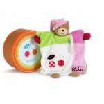 Kaloo Colors : Doudou ourson marionnette cerise