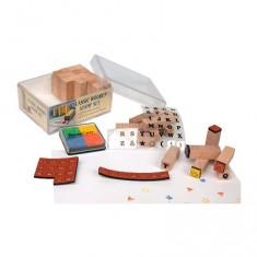Cachets en bois mini Set de tampons Alphabet majuscule