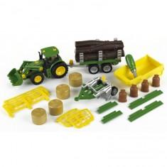 Modèle réduit : Tracteur John Deere avec benne basculante, remorque, char à bois et foin, charrue