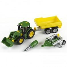 Modèle réduit : Tracteur John Deere avec benne et charrue