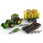 Modèle réduit : Tracteur John Deere avec char à bois et à foin