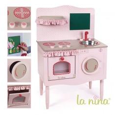 Cuisine en bois rose pour poupée : Grand modèle