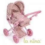 Landau/Poussette combi pour poupée avec couffin : Rose fleurs roses