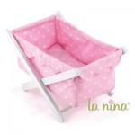 Lit rose à pois blancs pour poupée Anita 22 cm