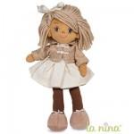 Poupée de chiffon Kate 38 cm : Manteau beige et jupe blanche à pois