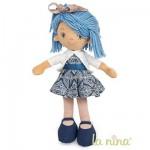 Poupée de chiffon Kate 38 cm : Robe et cheveux bleus