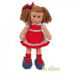 Poupée de chiffon Marta 38 cm : Robe rouge à fleurs et pois blancs