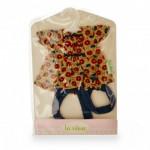 Vêtements pour poupée Anita 22 cm : Tunique fleurie avec collants bleus