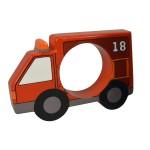 Rond de serviette en bois : Camion de pompier