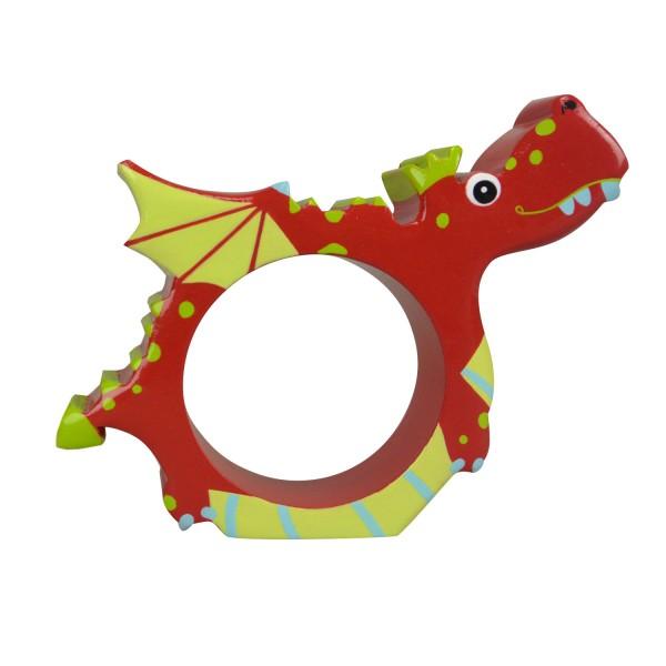 Rond de serviette en bois : Dragon - Coin-28627