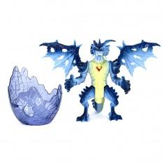 Figurine Dragon avec Oeuf : Jaune et bleu au coeur rouge