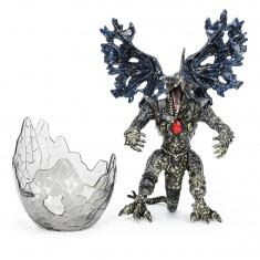 Figurine Dragon avec Oeuf : Noir au coeur rouge