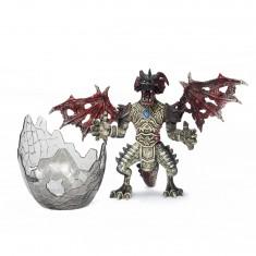Figurine Dragon avec Oeuf : Noir et rouge au coeur bleu