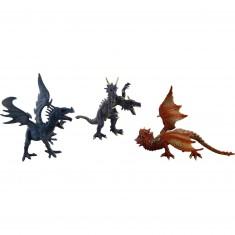 Figurines dragons  : 3 dragons : bleu, rouge, violet