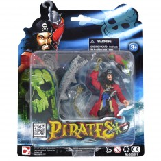 Set figurines Pirates : Pirate, poisson et perroquet