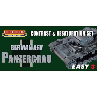 Ensemble de désaturation et de contraste - Easy 3 : German AFV Panzergrau - Lifecolor-EMS02