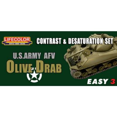 Ensemble de désaturation et de contraste - Easy 3 : US Army Olive Drab - Lifecolor-EMS03