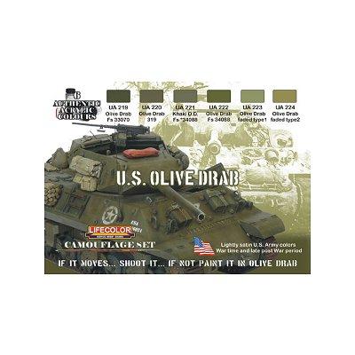 Kit de peintures -  Camouflage teintes Olive Drab US - Lifecolor-CS11