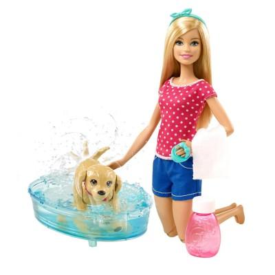 Sans Marque Poupée Barbie : Barbie et son chien à l'heure du bain