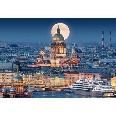 Castorland Puzzle 1000 pièces : pleine lune sur la cathédrale saint-Isaac