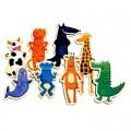 Djeco Puzzle 8 x 3 pièces en bois - Crazy animaux