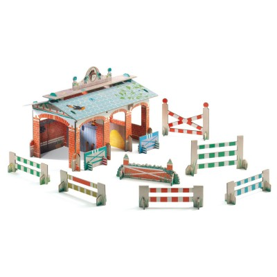 Djeco Construction en carton 3d pop'n play : centre équestre