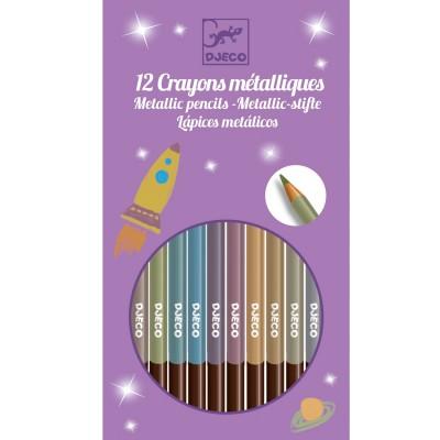 Djeco 8 crayons métalliques