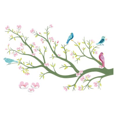 Djeco Stickers muraux 3d : cerisier en fleurs