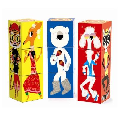 Djeco 9 cubes à empiler : animaux farfelus