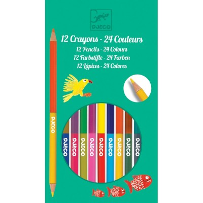 Djeco 12 crayons doubles 24 couleurs