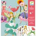 Djeco Set créatif pantins à colorier : Fées