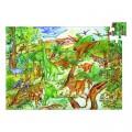 Djeco Puzzle 100 pièces - Poster et livret : Découverte dinosaures