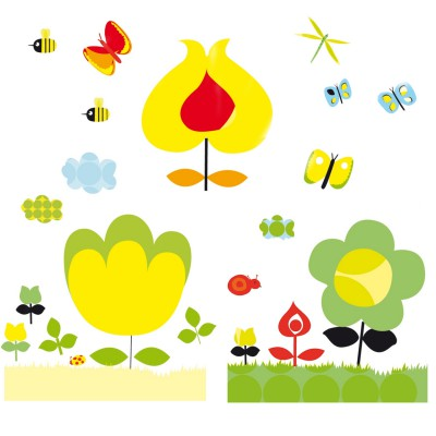 Djeco Stickers muraux les fleurs jaunes pour chambre twiggy