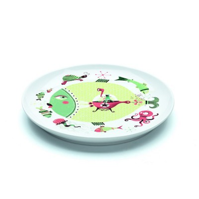 Djeco Assiette plate en porcelaine fish & chips : 20.5 cm